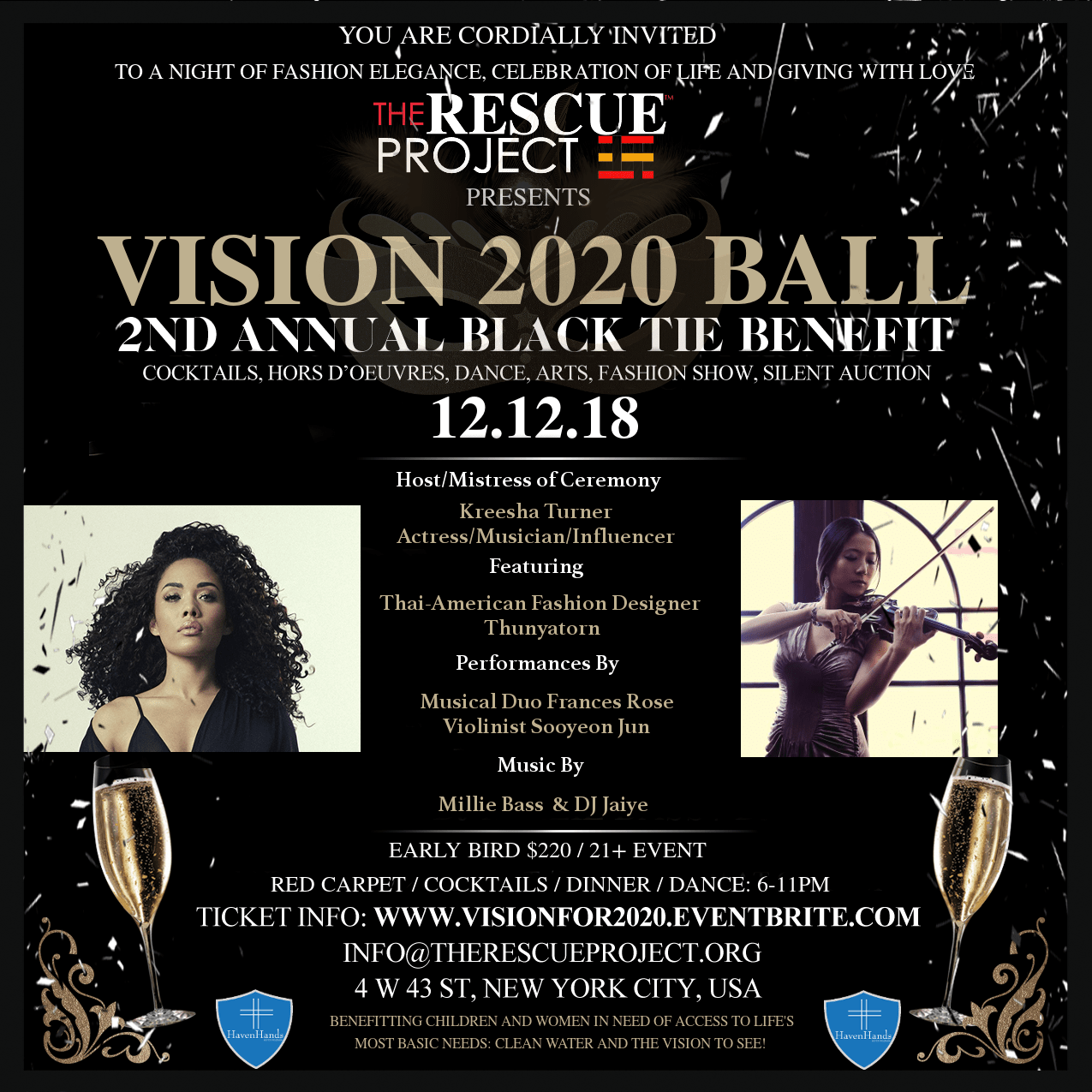 The Rescue Project hosts it's Second Annual Vision 2020 Benefit Ball – A Campaign Raising Awareness while Fighting for Life's' most basic needs;  Access to Clean Drinking Water & Eye Health